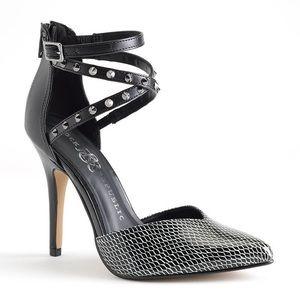 Stud strappy heels black & white